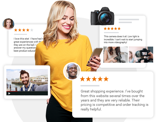 Shopper Approved - Girl reading seller and product reviews on phone